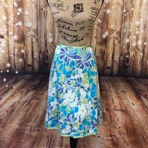 St. John's Bay blue/green floral A-line skirt